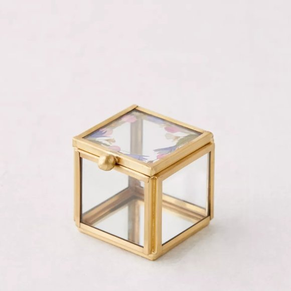 Pressed Floral Gold Trimmed Ring Box